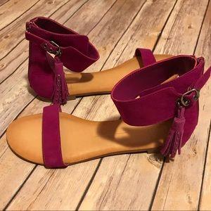 Dolce Vita Darma Ankle Strap Sandals Fringe Tassel